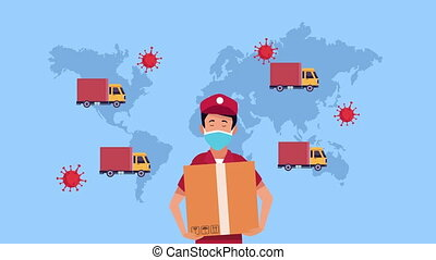 delivery service courier worker animation ,4k video animated