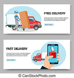 Delivery service free and fast background set of banners vector illustration. Man holding cart with box. Delivering packages. Male character standing near big truck or car.