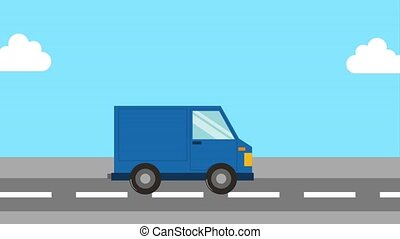 delivery service - free delivery - blue truck in road...