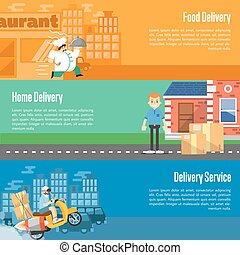Delivery service horizontal banners set