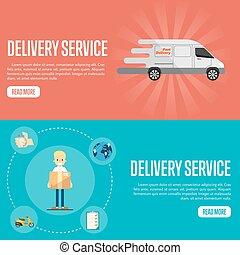 Delivery service horizontal website templates