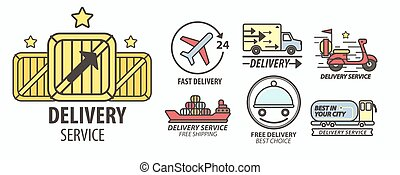 Delivery service isolated emblems parcels transportation food and post