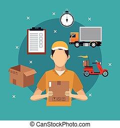 delivery service man carton box concept