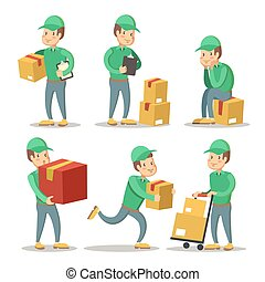 Delivery Service Man Cartoon Character Set. Courier with the Box. Vector illustration