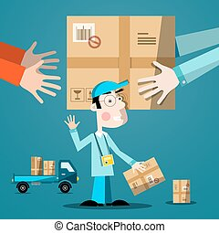 Delivery Service Man. Vector Flat Design Courier Illustration with Car and Boxes.