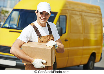 Delivery service man with parcel box