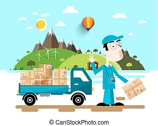 Delivery Service. Man with Van Car. Natural Flat Design Scene.
