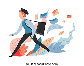 Delivery service messages and mail postman or mailman with bag