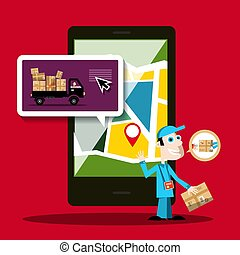Delivery Service Mobile Phone Application Vector Design