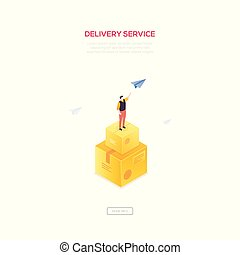 Delivery service - modern isometric vector web banner