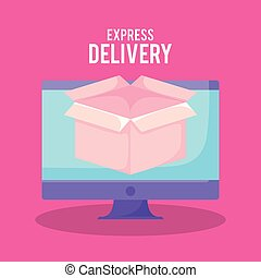 delivery service online with monitor and box
