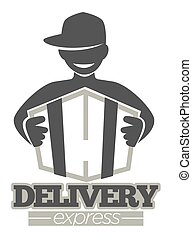 Delivery service or express shipment shop vector man icon