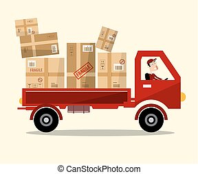 Delivery Service. Red Car with Paper Boxes and Driver Vector Illustration.