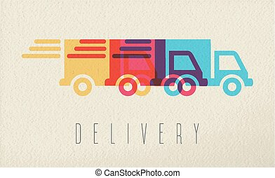 Delivery service truck icon concept color design