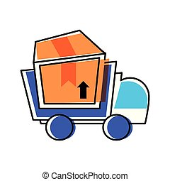 delivery service truck with box