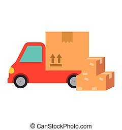 delivery service truck with boxes