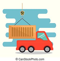 delivery service truck with container