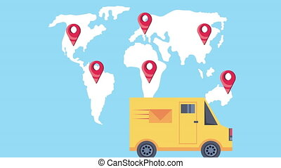 delivery service truck with earth maps and pins locations ...