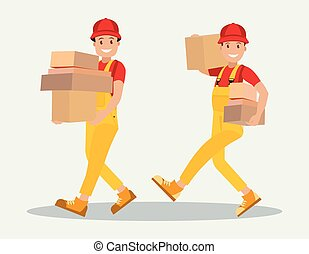 Delivery service. Two workers carry parcels. The style is flat.