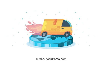 delivery service van and earth planet animation ,4k video ...