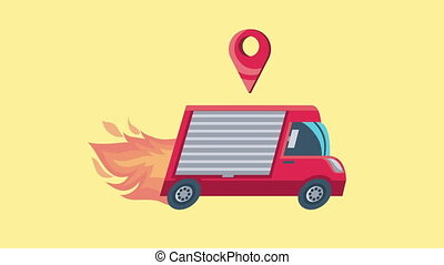 delivery service van and flames animation ,4k video animated