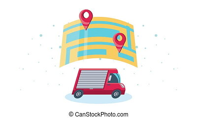 delivery service van and map animation ,4k video animated