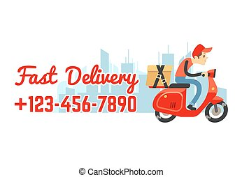 Delivery service vector banner with call number