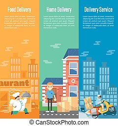 Delivery service vertical banners set