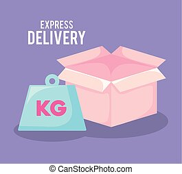 delivery service with box isolated icon