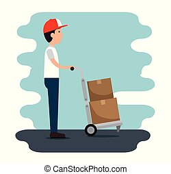 delivery service with courier lifting box