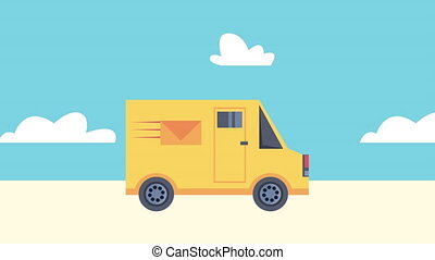 delivery service with postal service van animation ,4k video...