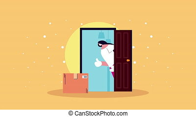 delivery service woman with box in door animation