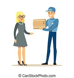 Delivery Service Worker Bringing The Box To Blond Woman, Smiling Courier Delivering Packages Illustration
