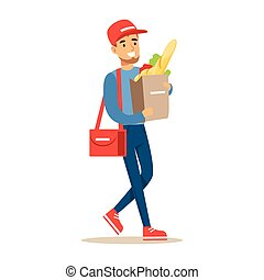 Delivery Service Worker Carrying Paper Bag With Supermarket Products, Smiling Courier Delivering Packages Illustration