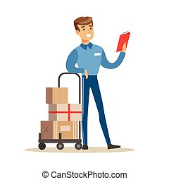 Delivery Service Worker Checking His Clipboard Leaning On Cart, Smiling Courier Delivering Packages Illustration
