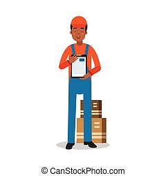 Delivery service worker delivering boxes and documents, courier in uniform at work cartoon character vector Illustration