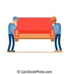 Delivery Service Worker Helping With Moving Carrying Sofa, Smiling Courier Delivering Packages Illustration