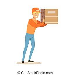 Delivery Service Worker Holding Big Box On The Shoulder, Smiling Courier Delivering Packages Illustration