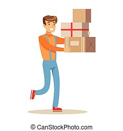 Delivery Service Worker Hurrying With Pile Of Boxes, Smiling Courier Delivering Packages Illustration