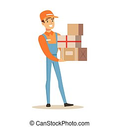 Delivery Service Worker In Dungarees Holding Pile Of Boxes, Smiling Courier Delivering Packages Illustration