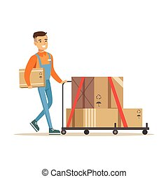 Delivery Service Worker Pushing Loaded Cart, Smiling Courier Delivering Packages Illustration