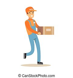 Delivery Service Worker Running Holding Carton Box, Smiling Courier Delivering Packages Illustration