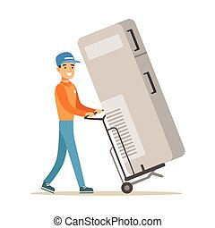 Delivery Service Worker With Large Fridge On Cart, Smiling Courier Delivering Packages Illustration