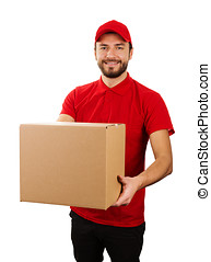 delivery service - young smiling courier holding cardboard box