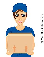 delivery service young woman holding cardboard box