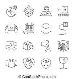 Delivery. Set of outline icons. Includes such as downloading, express delivery, search tracking number, courier and more. Editable stroke.