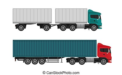 Delivery shipping cargo trucks and semi-trucks isolated on the white background.