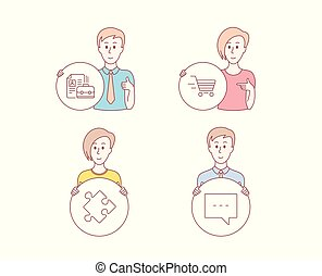 Delivery shopping, Strategy and Vacancy icons. Blog sign. Online buying, Puzzle, Hiring job. Chat message. Vector