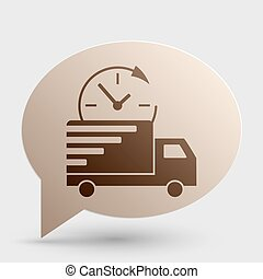 Delivery sign illustration. Brown gradient icon on bubble with shadow.