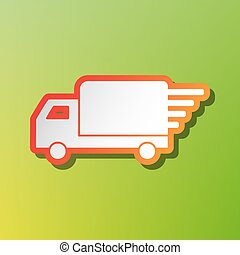 Delivery sign illustration. Contrast icon with reddish stroke on green backgound.